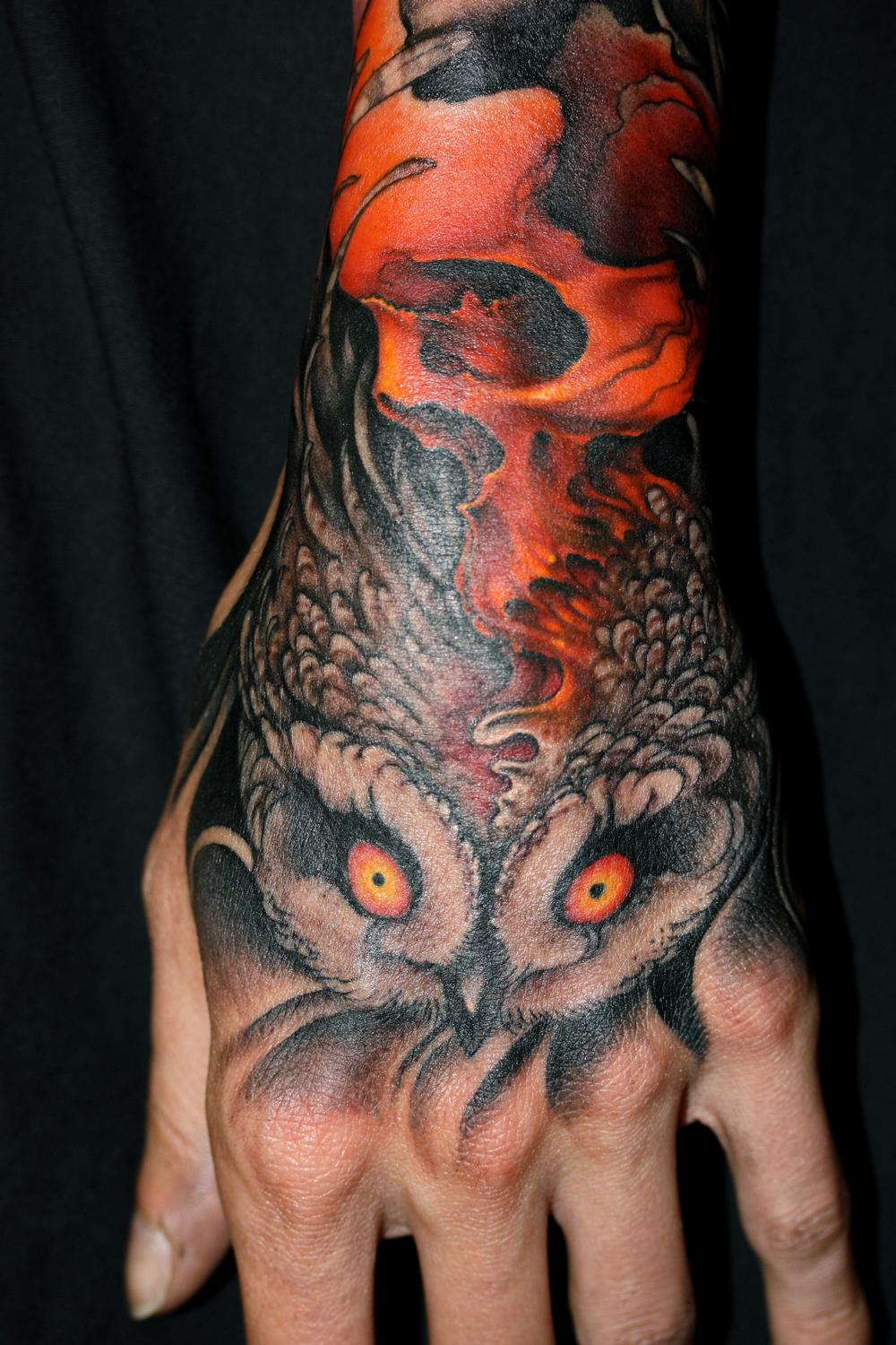 Tattoos - skull, owl - 55339