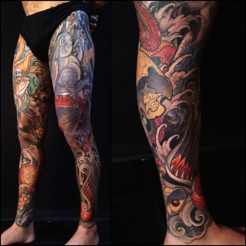 Tattoos - blue rabbit, snake and bells - 115464