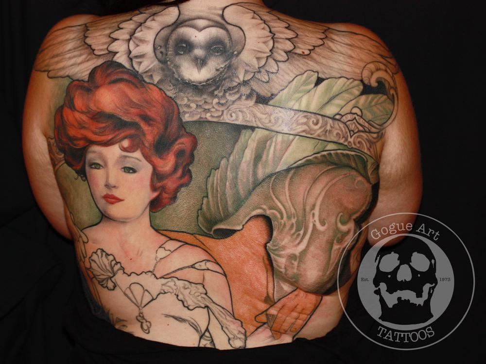 Tattoos - in progress mucha style back piece  - 59602