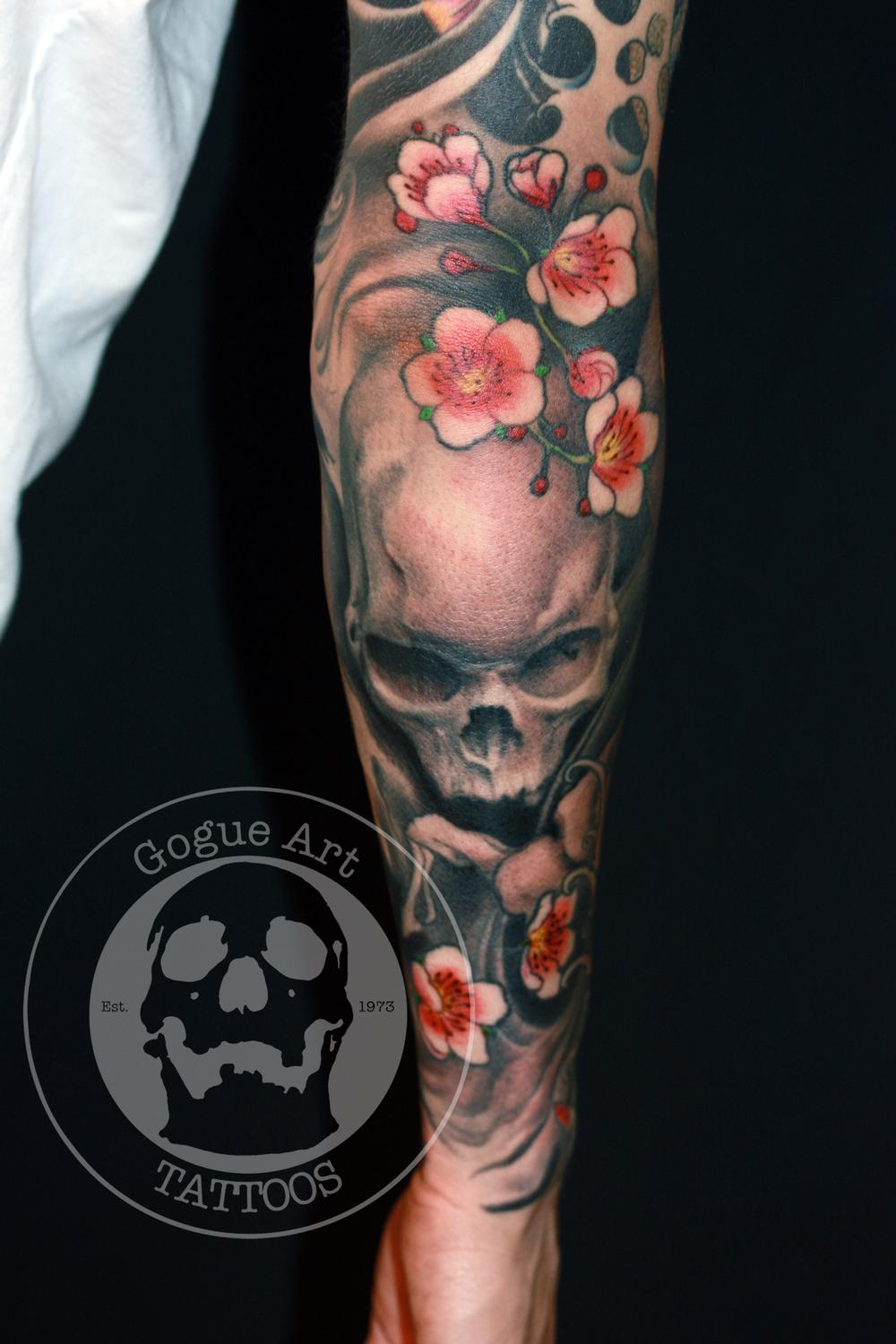 Tattoos - skull and cherry blossoms - 59603