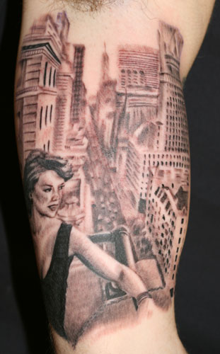 pinup tattoo. City girl pin up tattoo