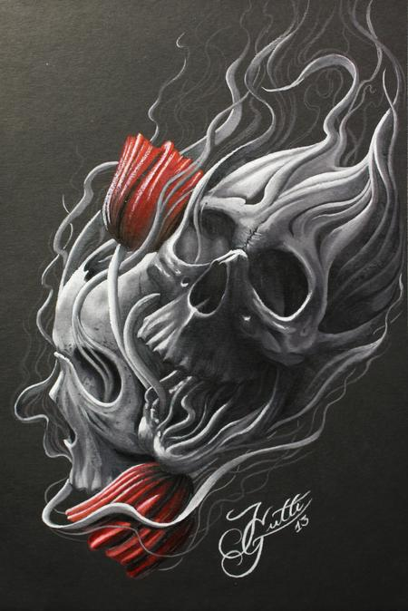 Jhon Gutti - Skull and Flowers