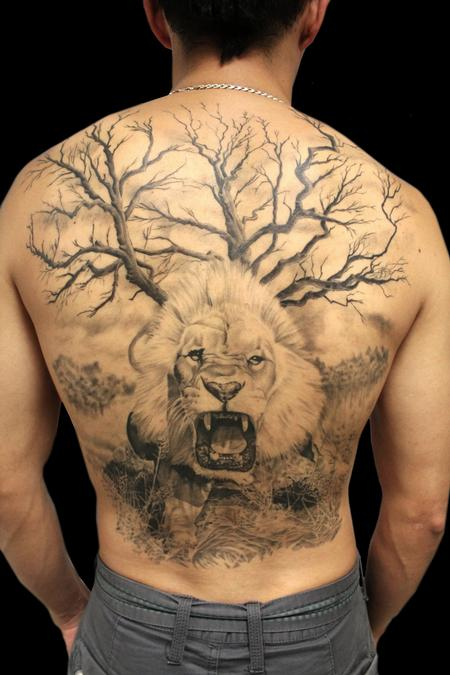 Tattoos - Full Back Lion Piece - 100463