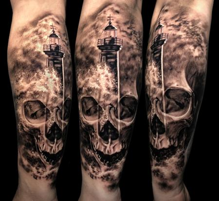 Skull/Lighthouse  Tattoo Design Thumbnail