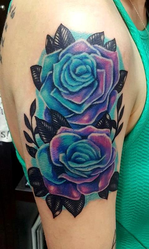 Blue roses tattoo by jesse neumann tattoonow for Tattoo shops in castle rock