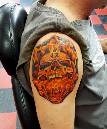 Jesse Neumann - Fire Skull Tattoo
