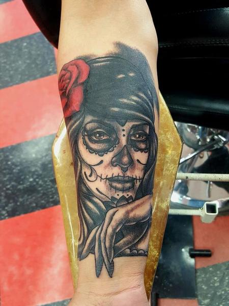 Day of the Dead Woman Tattoo Tattoo Design Thumbnail