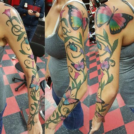 Tattoos - Flower and Butterfly tattoo - 119955