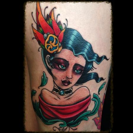 Tattoos - Neo Traditional Woman Tattoo - 116617