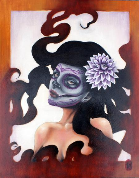 Jesse Neumann - Day of the Dead with white Dahlia Flower.