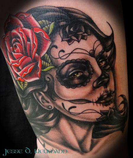 Tattoos - Day of the dead woman tattoo - 91340
