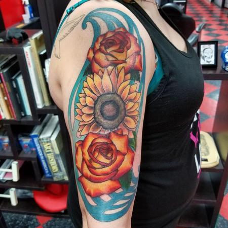 Tattoos - Rose and Sunflower tattoo - 134241