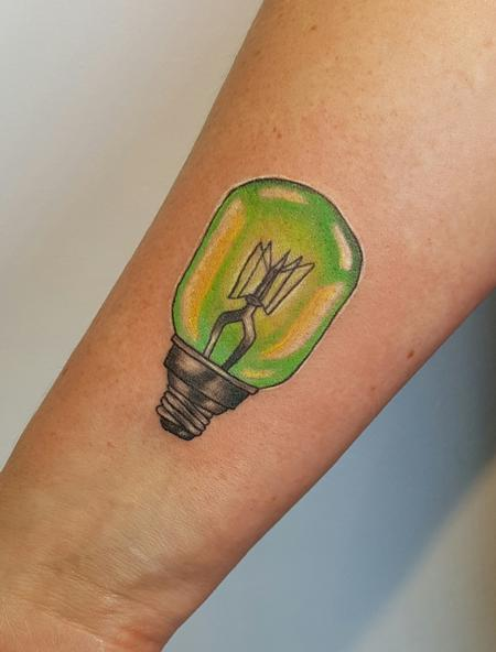 Tattoos - Neotraditional Lightbulb Color Tattoo - 122354