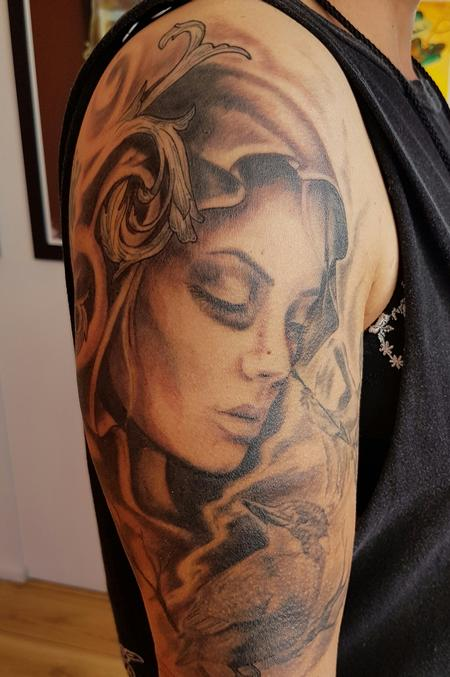 Tattoos - Black and Gray Portrait Half Sleeve - 122649