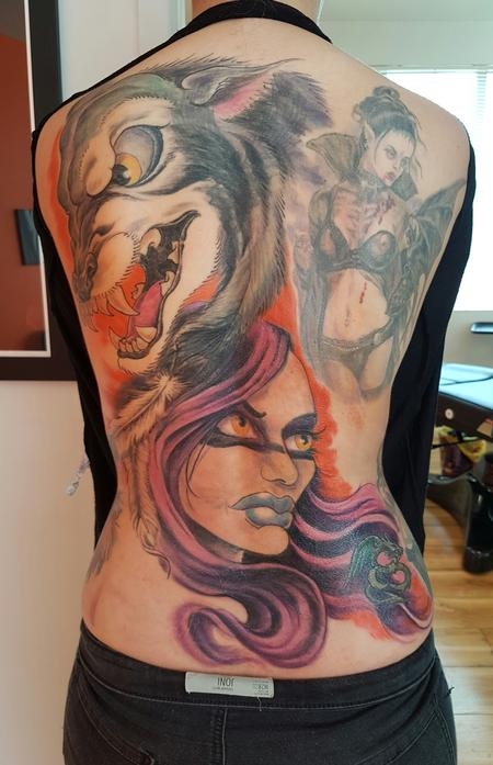 Tattoos - Wolf Warrior Color Tattoo Full Back - 122729