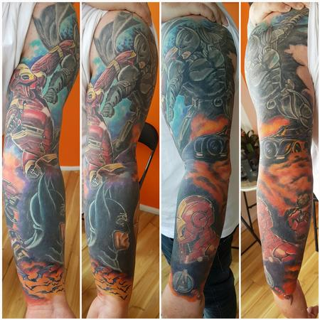 Tattoos - Batman v Ironman Full Color Tattoo Sleeve - 123498