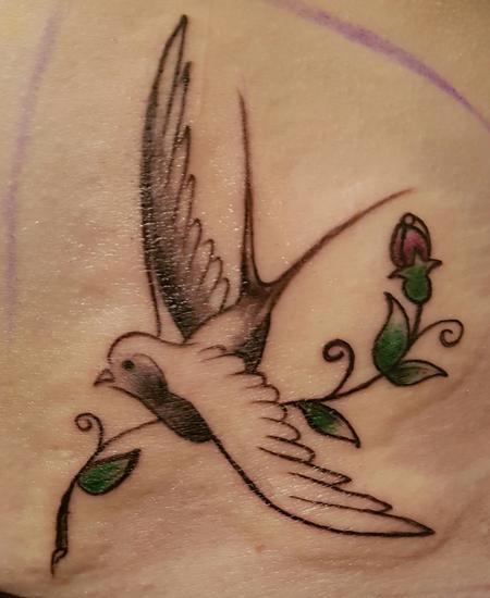 Tattoos - American Traditional Old School Swallow Feminine Tattoo Detail - 125342