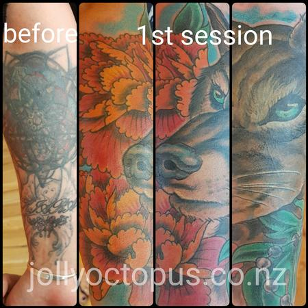 Tattoos - Wolf and Peonies Coverup Tattoo - 126008