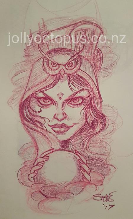 Tattoos - Gypsy Fortune Teller Color Sketch - 126255