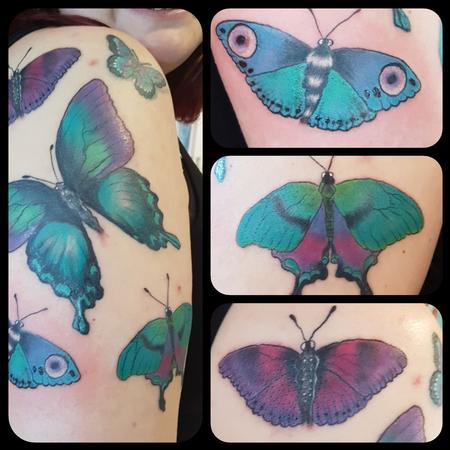 Tattoos - Feminine Butterfly Color Tattoo - 129163
