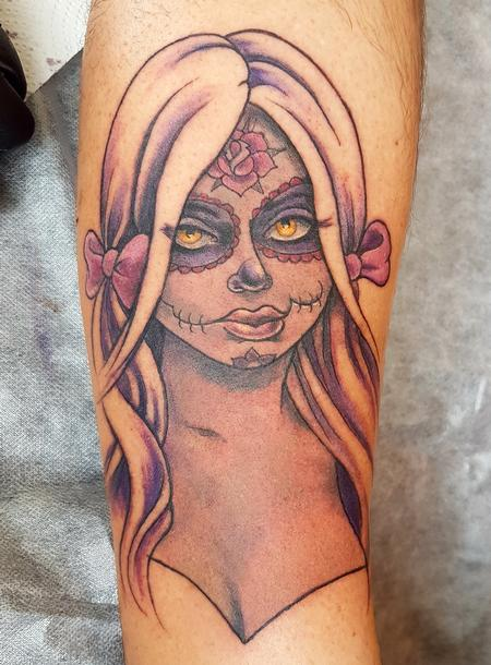Tattoos - Day of the Dead Pinup Tattoo - 131690