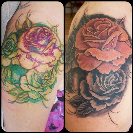Steve Malley - Shoulder Cap Rose Tattoo