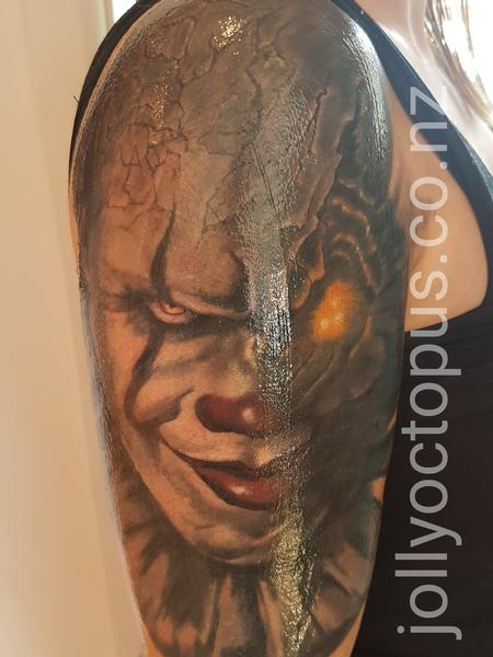 Steve Malley - Pennywise Evil Clown Color Tattoo