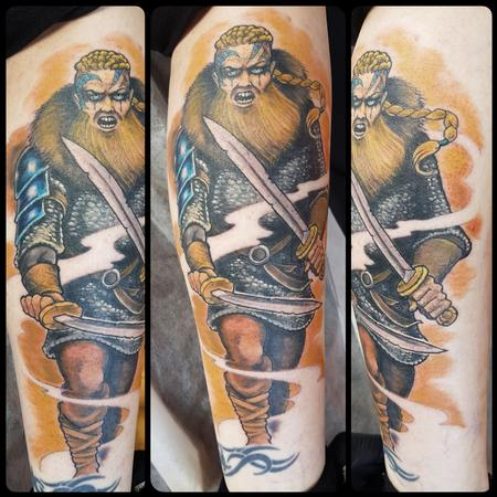 Steve Malley - Fierce Viking Warrior Color Tattoo