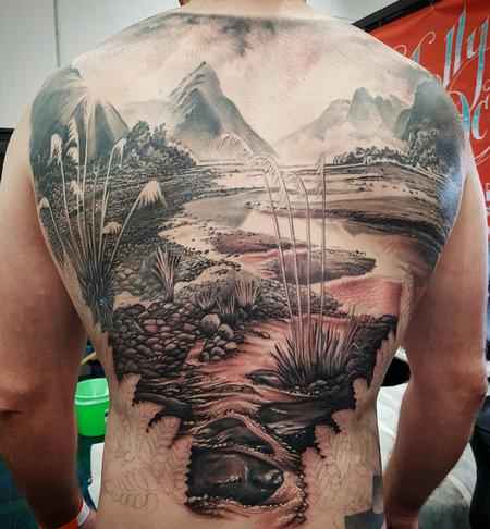 Tattoos - New Zealand Landscape Tattoo - 131747