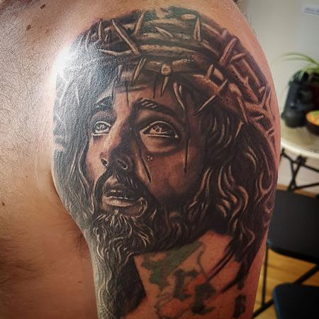 Tattoos - Black and Gray Jesus Portrait Tattoo - 131745