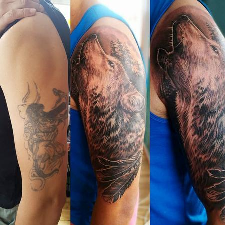 Tattoos - Black and Gray Wolf Coverup Tattoo - 131744