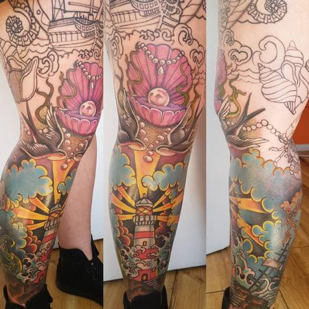 Body Piercing - Neotraditional Leg Sleeve Color Tattoo