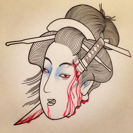 Makiko Komamiya - Severed Head Japanese Tattoo Design