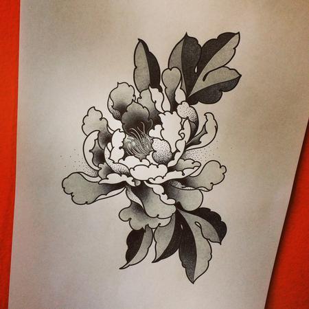 Tattoos - Beautiful Peonies Traditional Japanese Tattoo Design - 127519