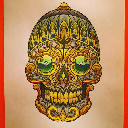Makiko Komamiya - Tibetan Skull Tattoo Design