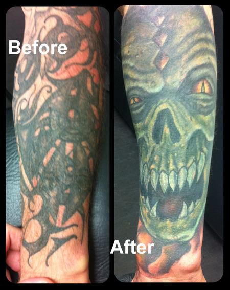 Tattoos - Tribal Horror Cover-Up - 117880