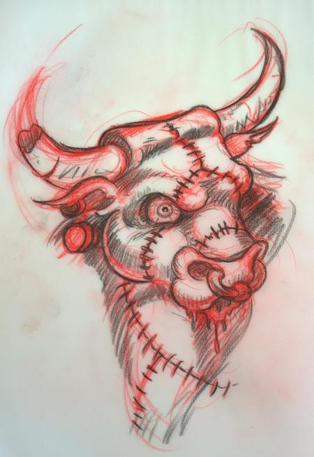 Tattoos - Franken-Bull Original Drawing  - 116799
