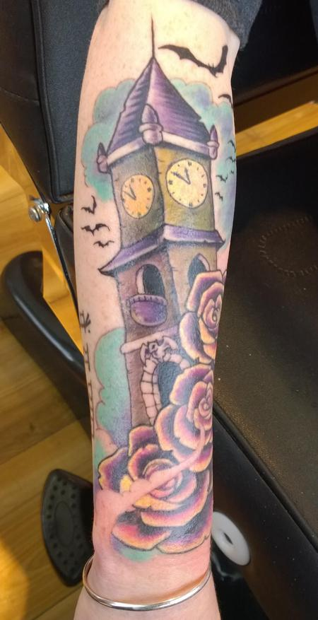Tattoos - Spooky Clock Tower Color Tattoo  - 120018