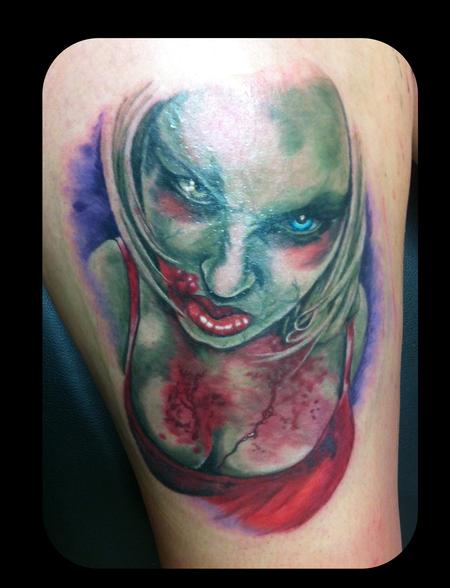 Tattoos - Zombie Girl Pinup Tattoo - 114038
