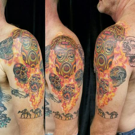 Flaming Skulls Tattoo Design