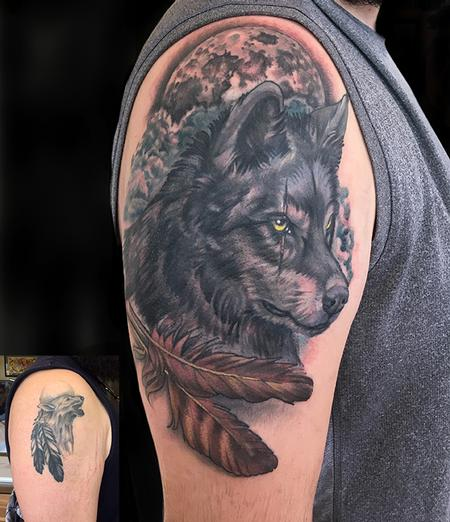 Wolf and Feathers Coverup Tattoo Design