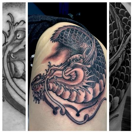 Tattoos - Japanese Dragon Head leg tattoo - 117772
