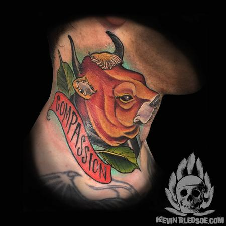 Kevin Bledsoe - Vegan Compassion neck tattoo