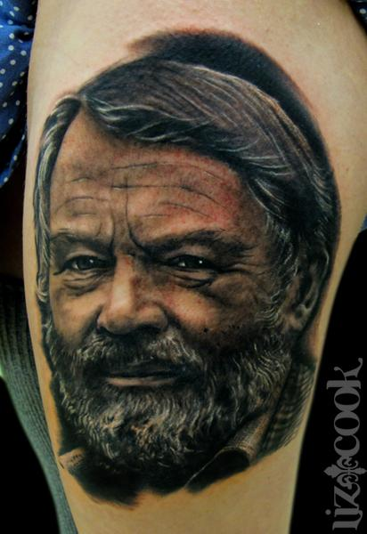 Tattoos - John Fowles-Black and Gray Portrait - 62562