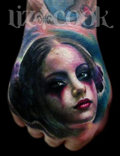 Tattoos - Goth Girl Hand Portrait - 60304