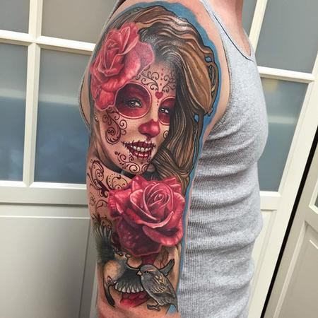 Day of the Dead Tattoo (clients wife) Tattoo Thumbnail