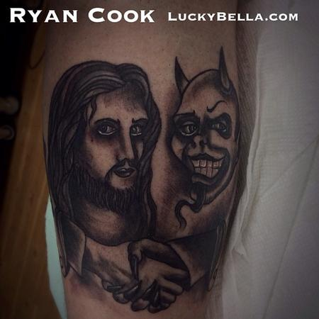Tattoos - the Devil and Jesus - 91748