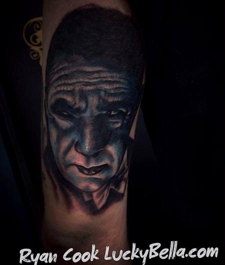 Tattoos - Bela Lugosi as Dracula portrait Tattoo by Ryan Cook of North Little Rock , AR Lucky Bella Tattoos - 92150