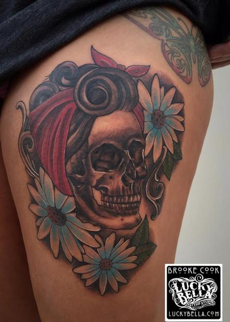 Tattoos - Skull and Flowers - 109528