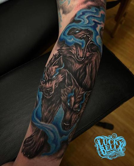 Cerberus Tattoo by Howard Neal at Lucky Bella Tattoos in North Little Rock, Arkansas Tattoo Design Thumbnail